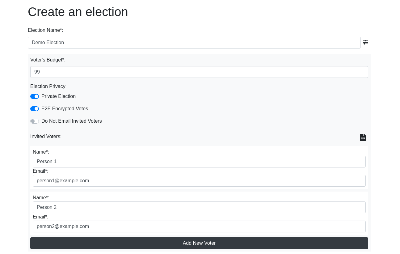 Creating Private Election (w E2E encryption)