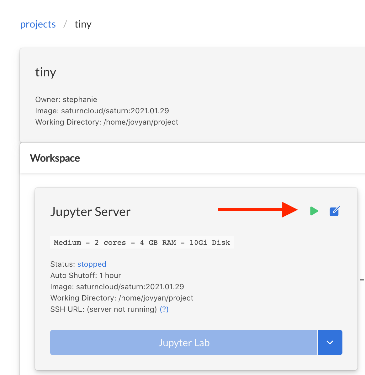 Screenshot of Saturn Cloud project's Jupyter server card, with arrow pointing to green start button