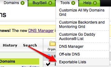 GoDaddy Exportable Lists