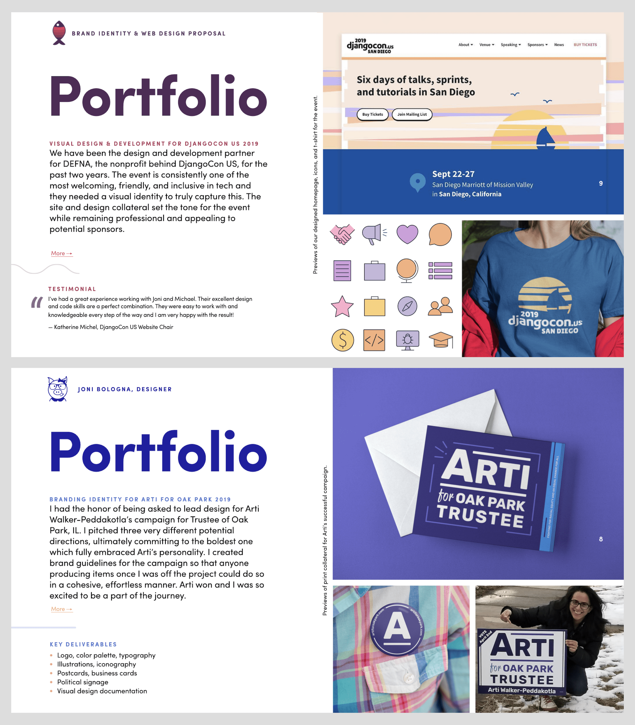 Examples of two portfolio pieces shared within a proposal deck