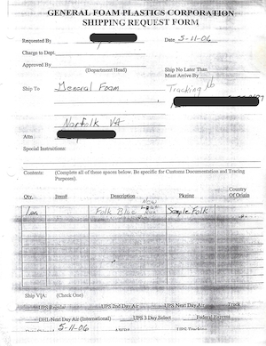 General Foam Plastics Shipping Request Form (05/11/2006) preview