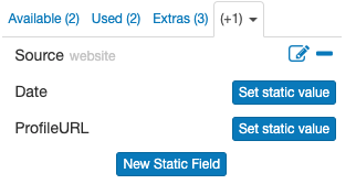 New Static Field tab in the template editor (behind the dropdown)
