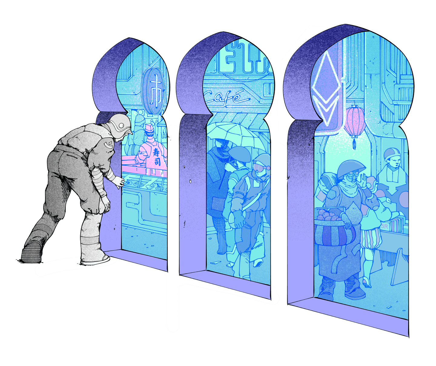Illustration of a person peering into a bazaar, meant to represent Ethereum.