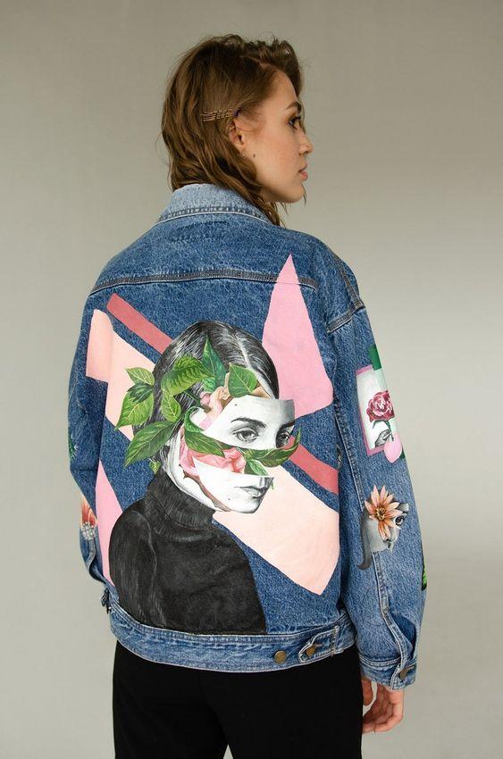 Veste en jean upcyclé peinture tissu