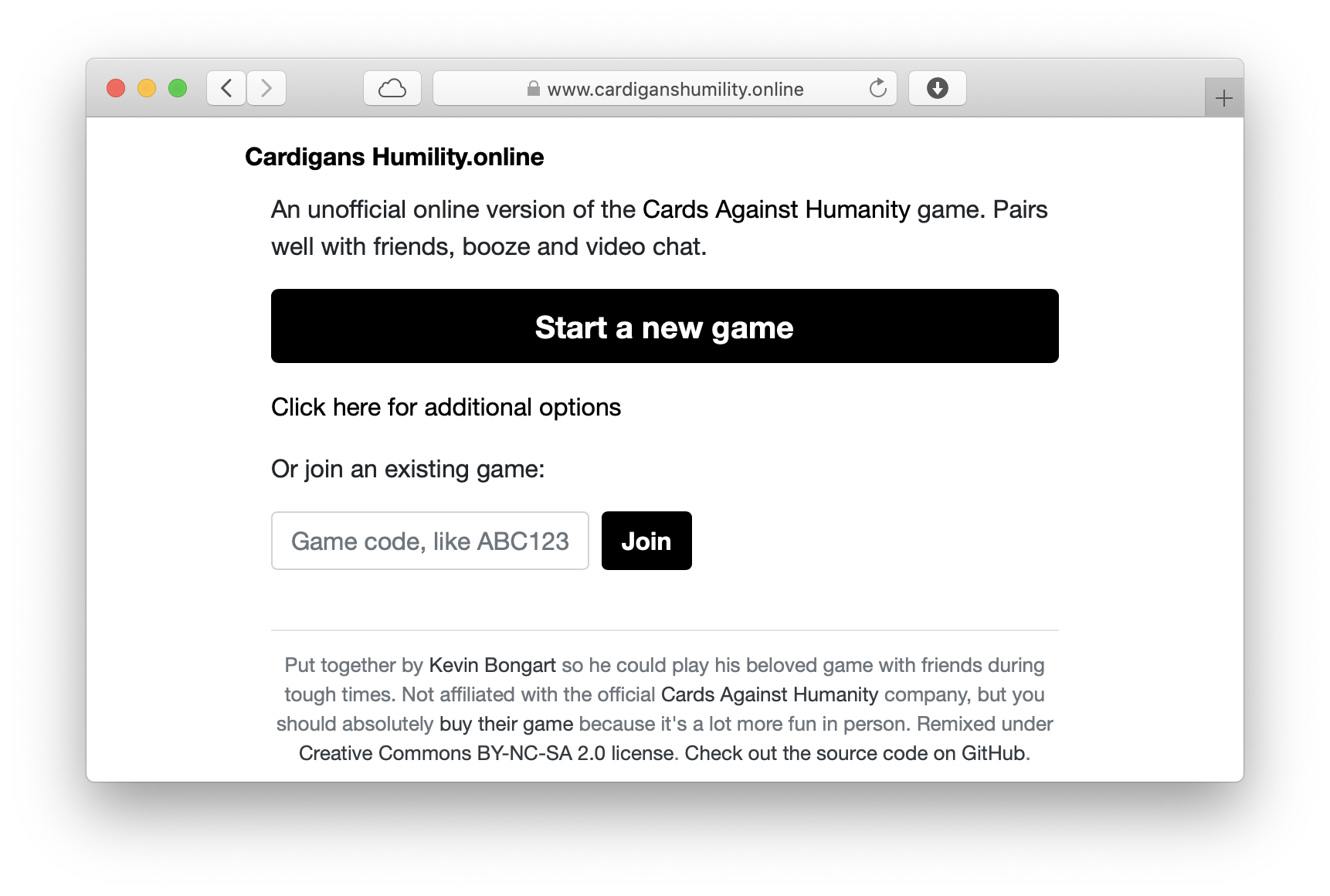 Homepage of the Cardigans Humility game. The player can start a new game or join an existing one.