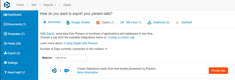 Export parsed data to Salesforce