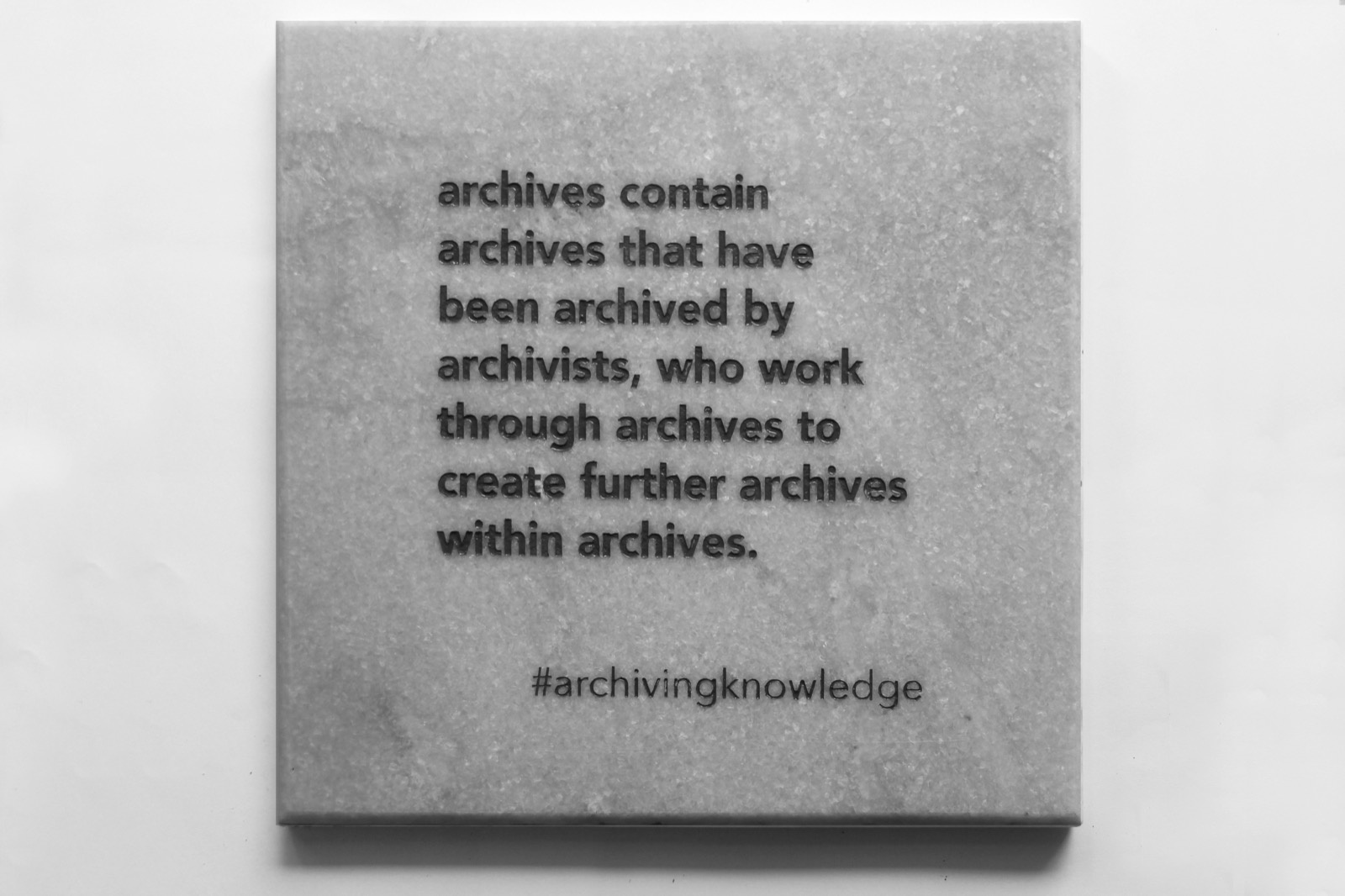 Archives contain archives that have been archived by archivists, who work through archives to create further archives within archives, From the series: Archiving Knowledge, hand engraved marble, 2018