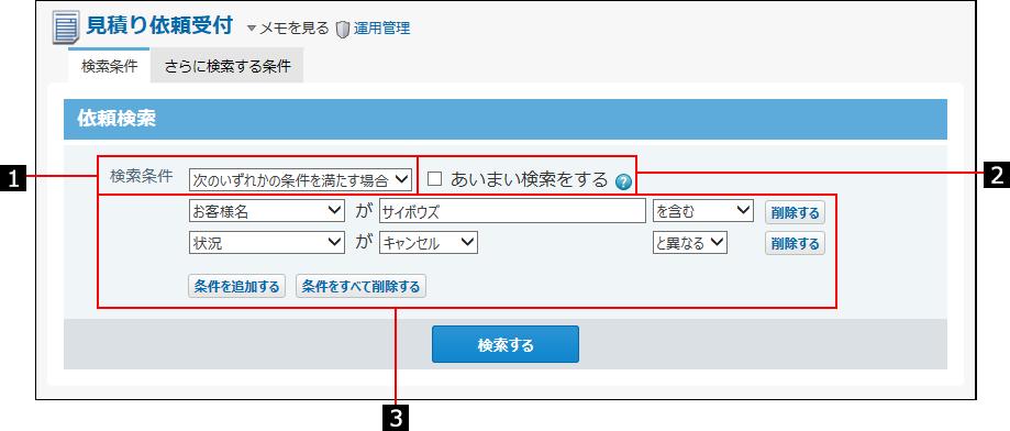 検索条件を説明する番号付き画像