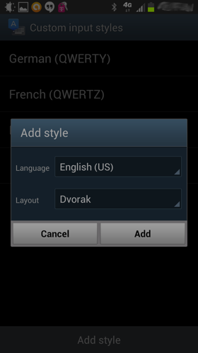 Adding the Dvorak keyboard layout under the Custom input styles screen in the Advanced Settings screen
