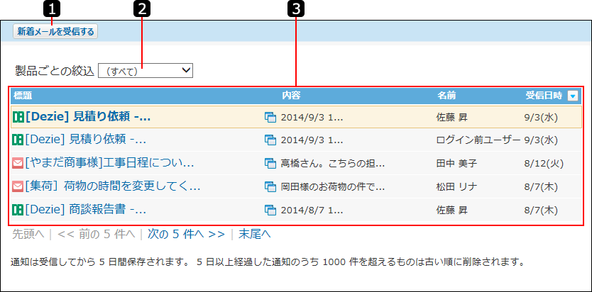 連携システム通知一覧画面を説明する番号付き画像