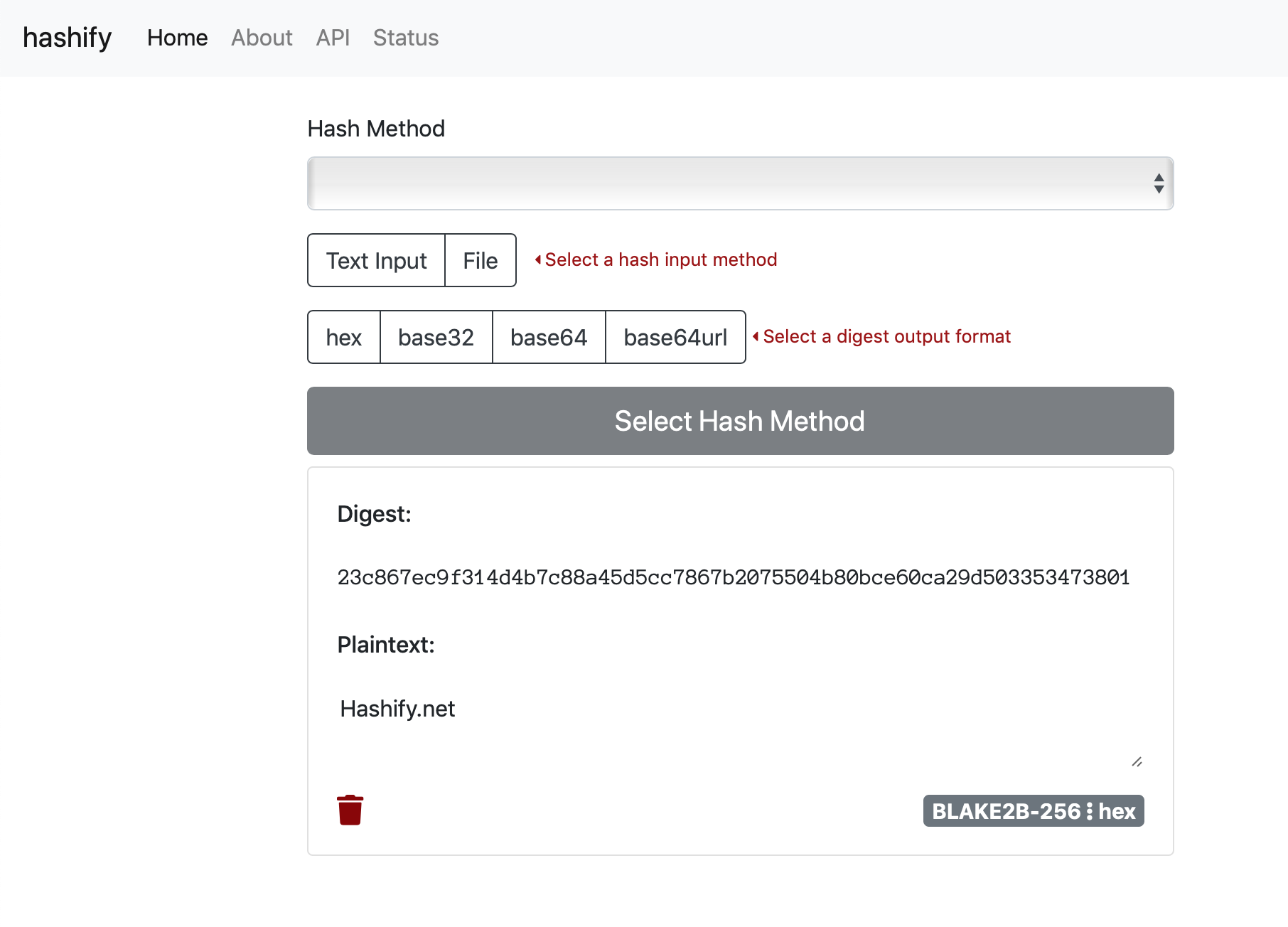Hashify.net Project Screenshot
