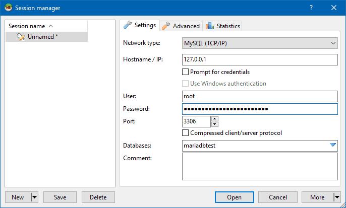 Create a new HeidiSQL session