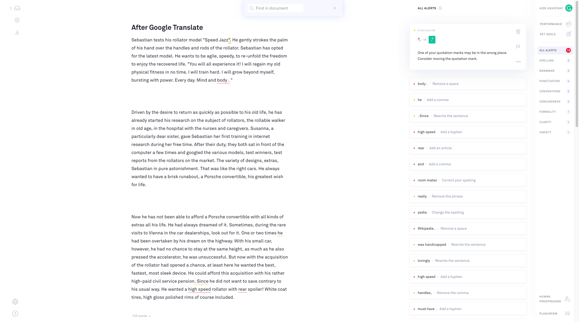 Screenshot of Grammarly alerts after Google Translate