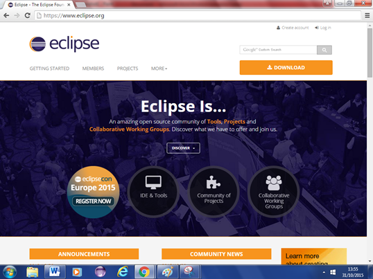 A screenshot of the Eclipse website front page