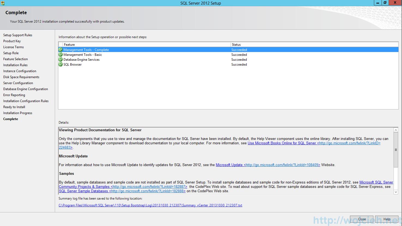 QL Server 2012 SP1 - Installation Finished