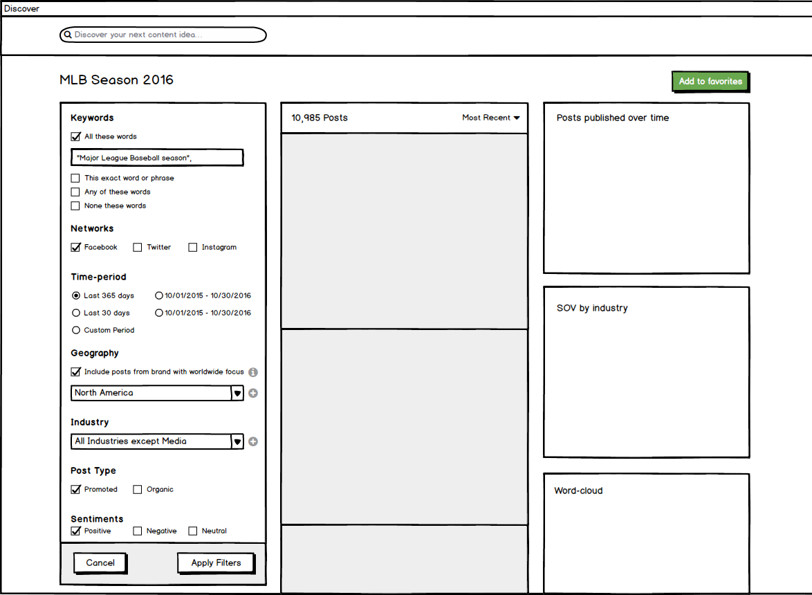 Discover Filters wireframe