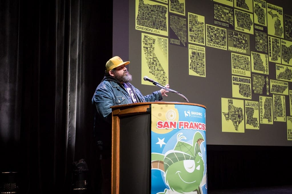 Aaron Draplin at SmashingConf SF 2018.