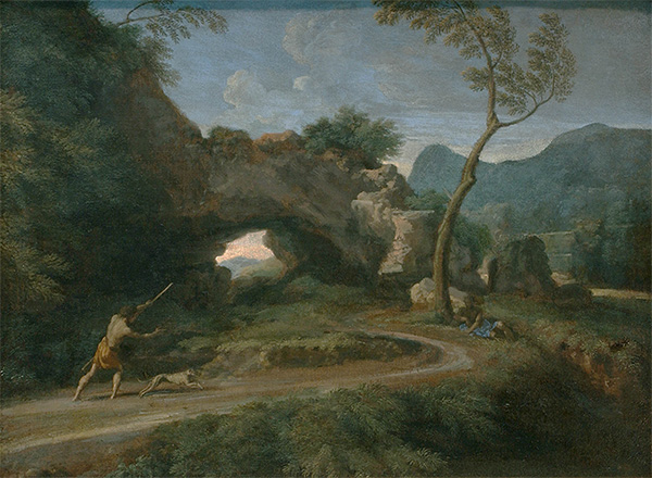 Landscape scene of natural rock formation with shepherd and dog in foreground. Another man is shading himself under a tree nearby.
