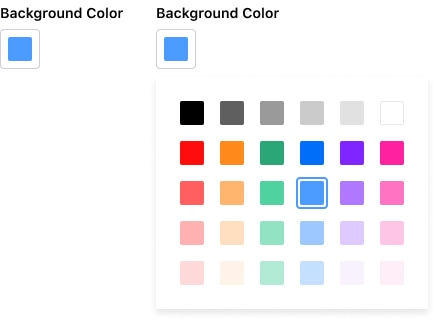 Color picker at its restricted version where only a predefined color palette is shown