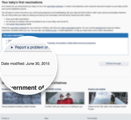 Screenshot of a blurred Canada.ca page showing the date modified near the bottom on the left side.