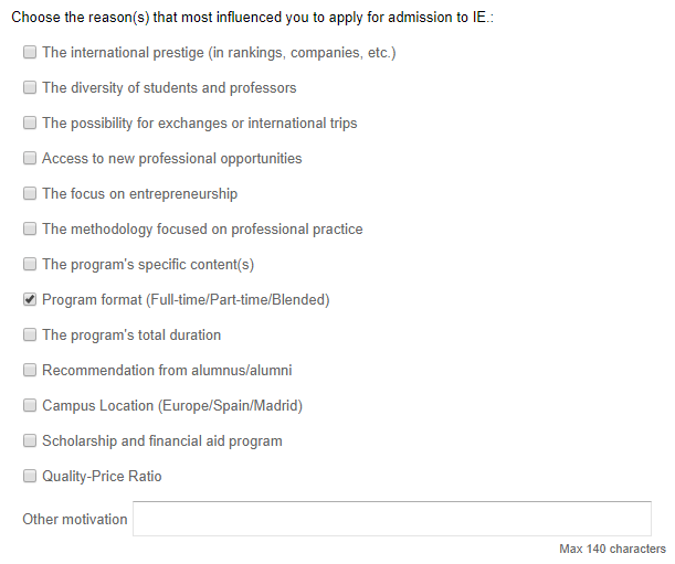 7) You must then select the reason(s) why you wish to study at IE.