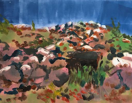 colourful monoprint of rocky hillside