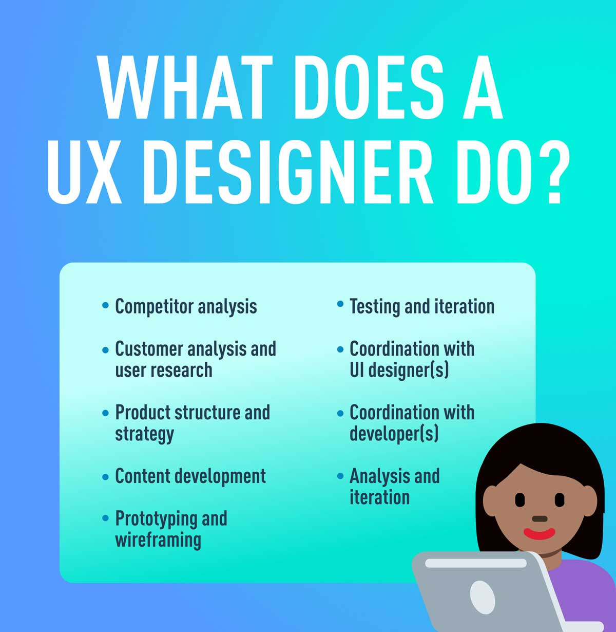 A list of the typical tasks carried out by UX designers