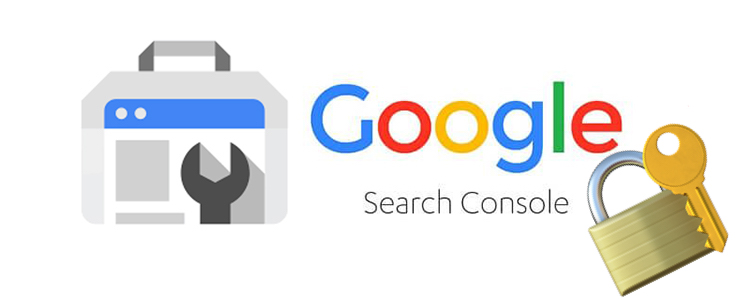 Google's Search Console logo with a padlock right next to it.
