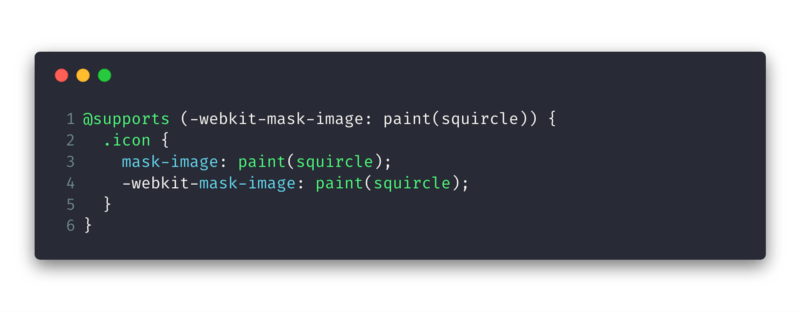a code snippet showing feature detection using @supports in CSS