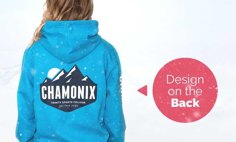 A ski trip hoodie design printed on the back of a hoodie