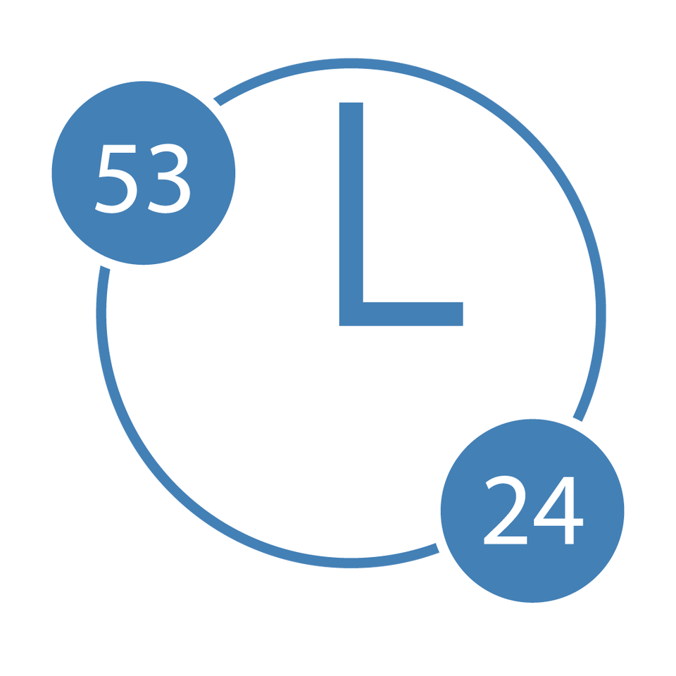 a white circle with an L in the middle depicting leadership studies, two blue mini-circles with 53 and 24 depicting credit hours.
