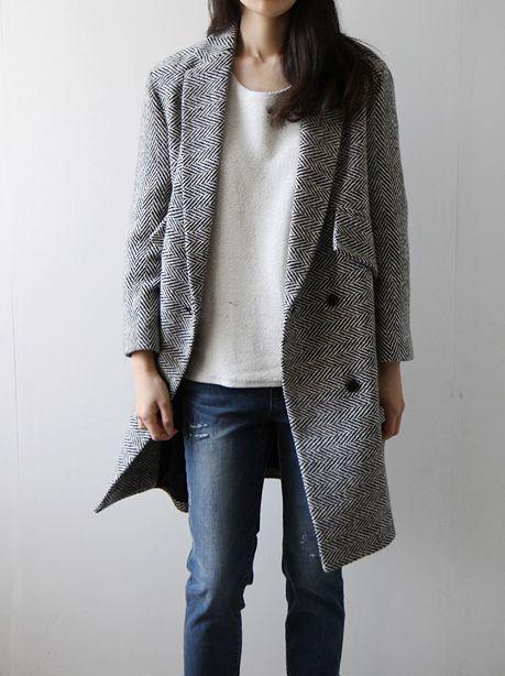 Manteau femme en laine gris foncé