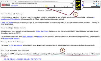 Screenshot of the 'Contributed Package' page from May 14, 2008.