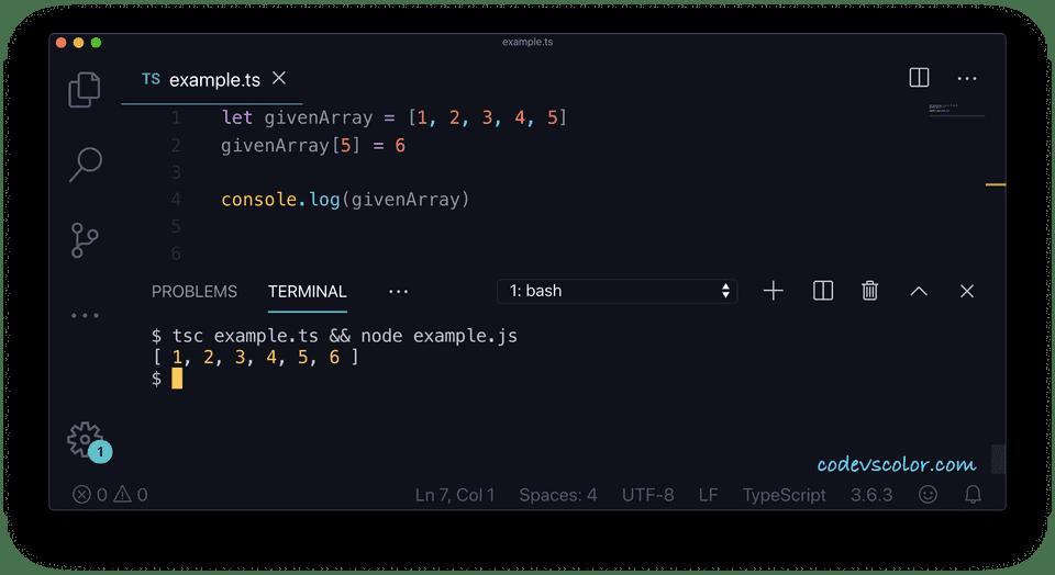 TypeScript array add elements index