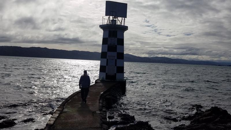 Functioning lighthouse on Wellington harbor