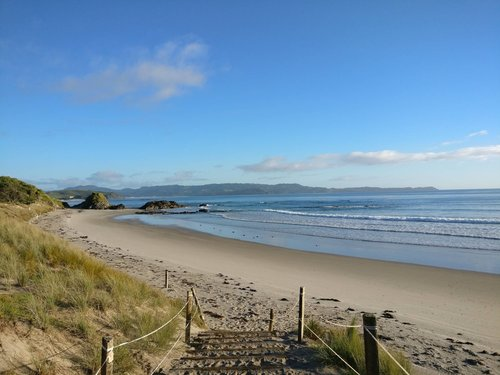Empty beach at the start