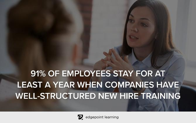 91% of employees stay for at least a year when companies have well-structured new hire training