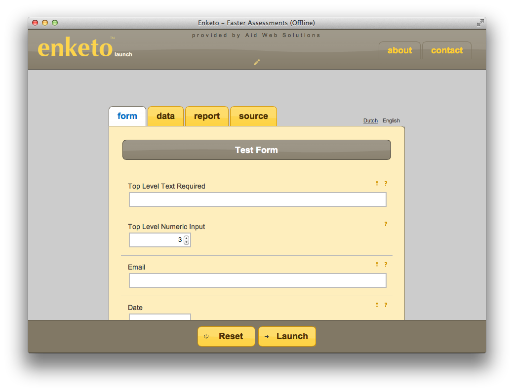 Screenshot showing plain form and information tabs that help with testing.
