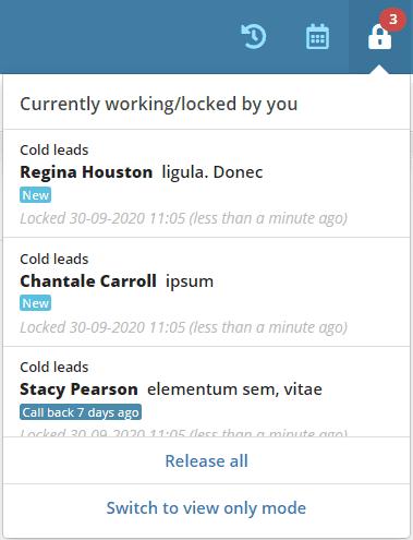 Locked/working leads menu