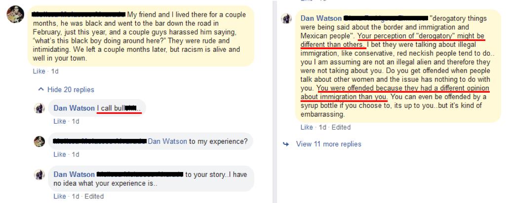Facebook screenshot shows Detective Dan Watson accusing Kanab residents of lying about their experiences with racism