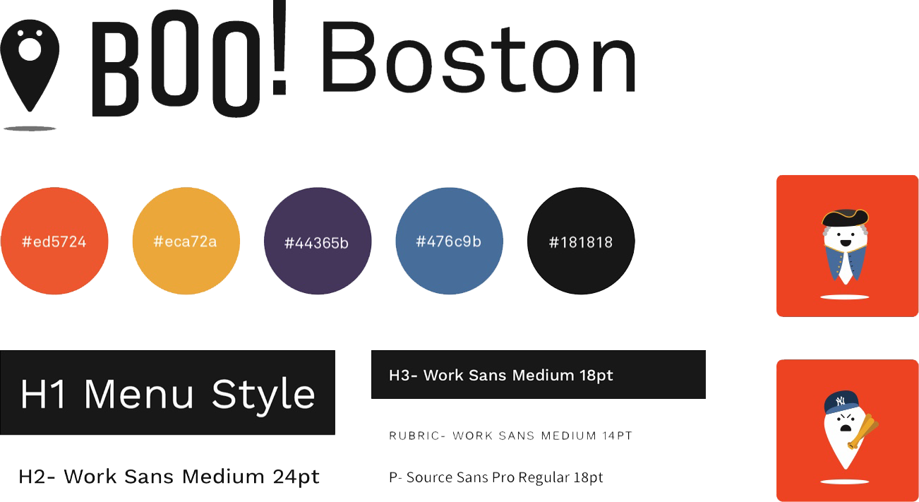 A collection of branding elements for the Boo! Boston app, including wordmark, colors, typography, and iconography.