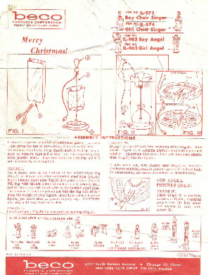 Beco Products Boy Choir Singer #IL-973, Girl Choir Singer #IL-974, Boy Angel #IL-962, Girl Angel #IL-963 Instruction Manual (10/1962) preview