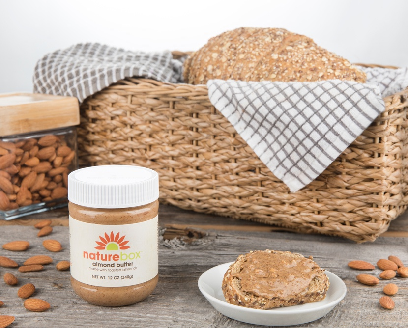 bread basket, peanut butter, & almonds