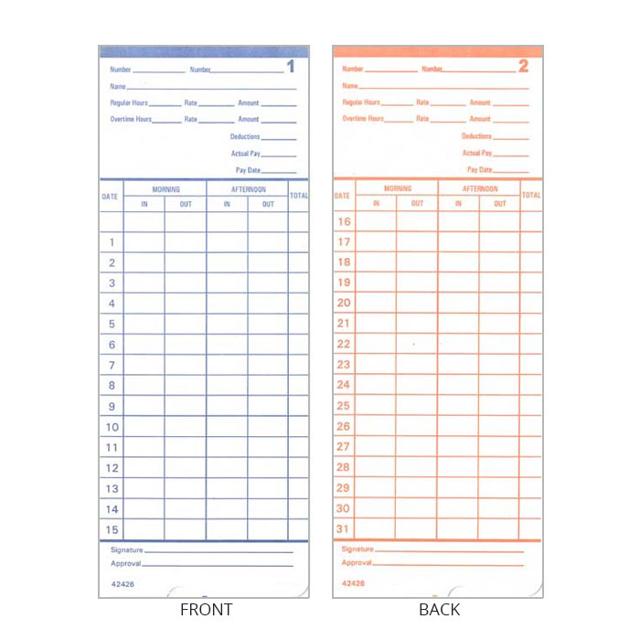 2400 Time Cards - Pack of 100