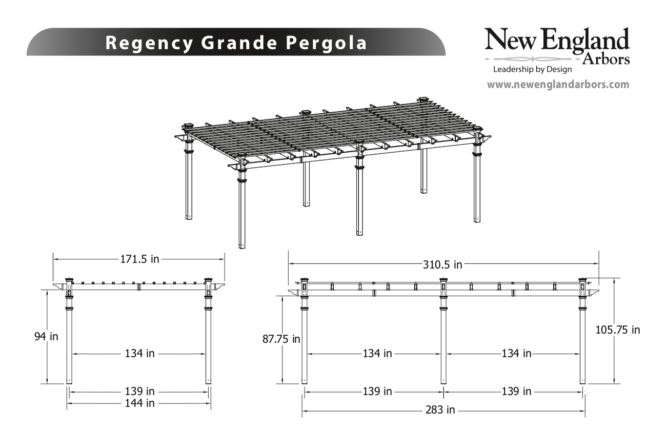 Regency Grande Pergola Specifications