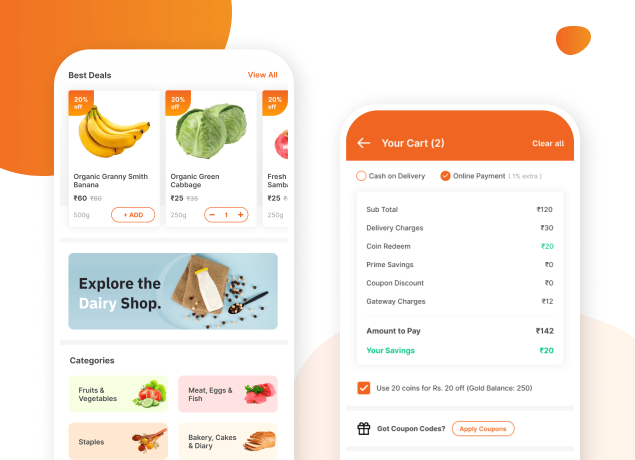Multi/Single Vendor Customer Buyer App design and development