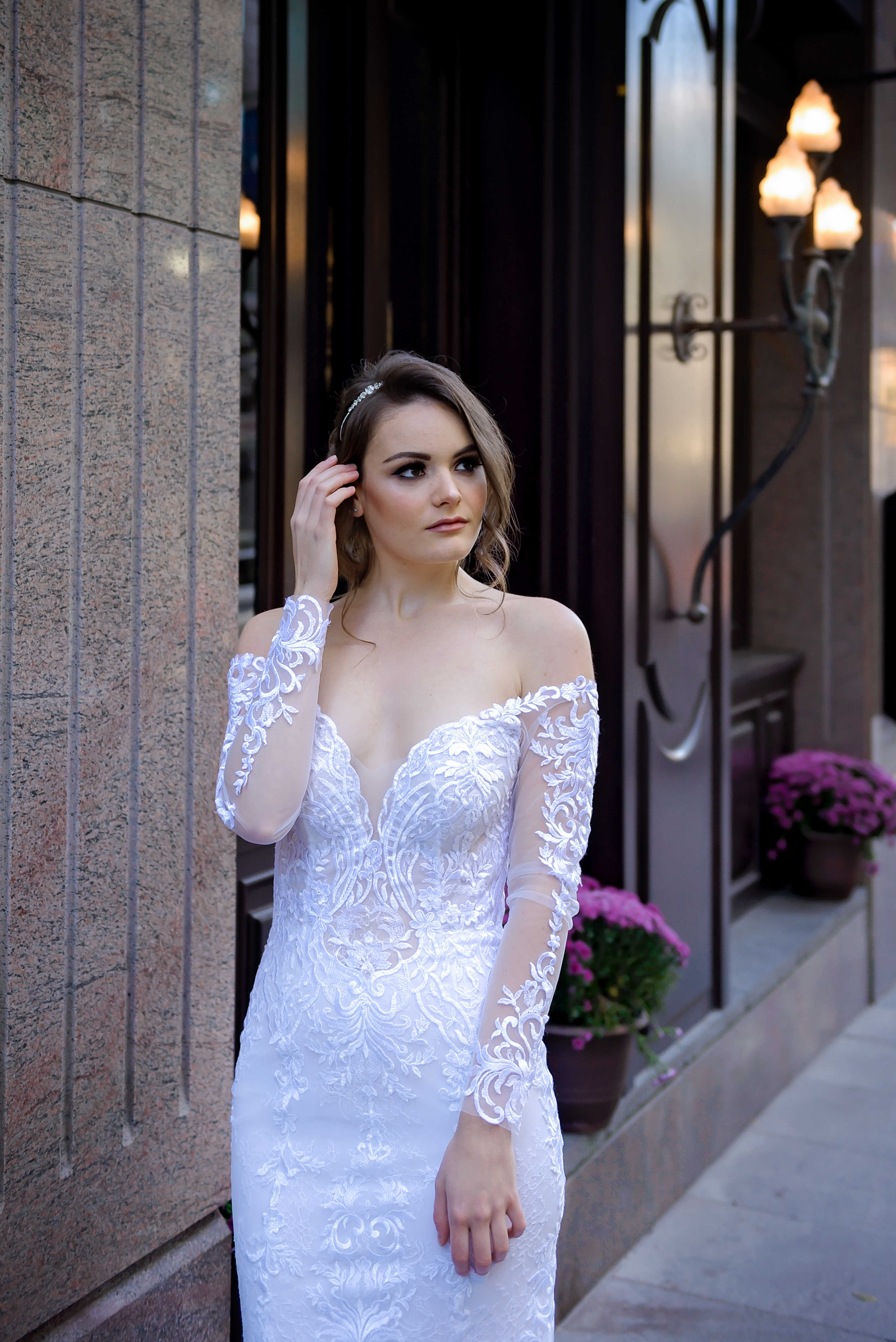 long sleeve lace wedding gown with chantilly lace skirt montreal bridal store