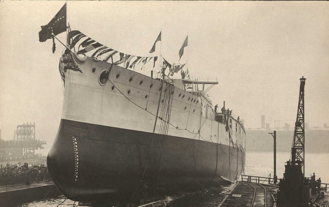 An old image of a ship launch