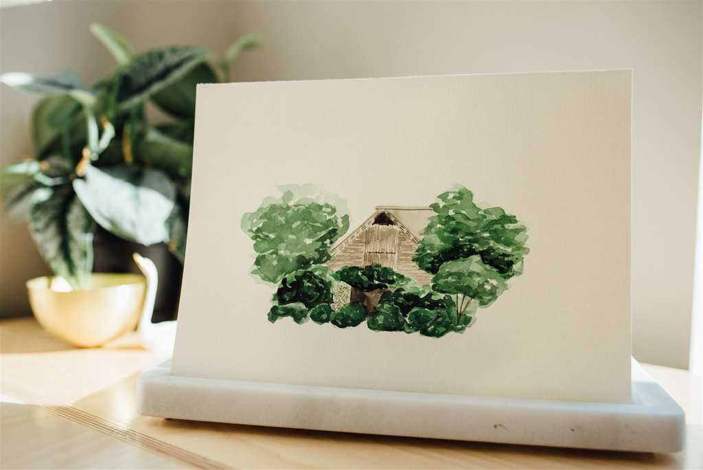Fearrington Barn watercolor wedding venue illustration