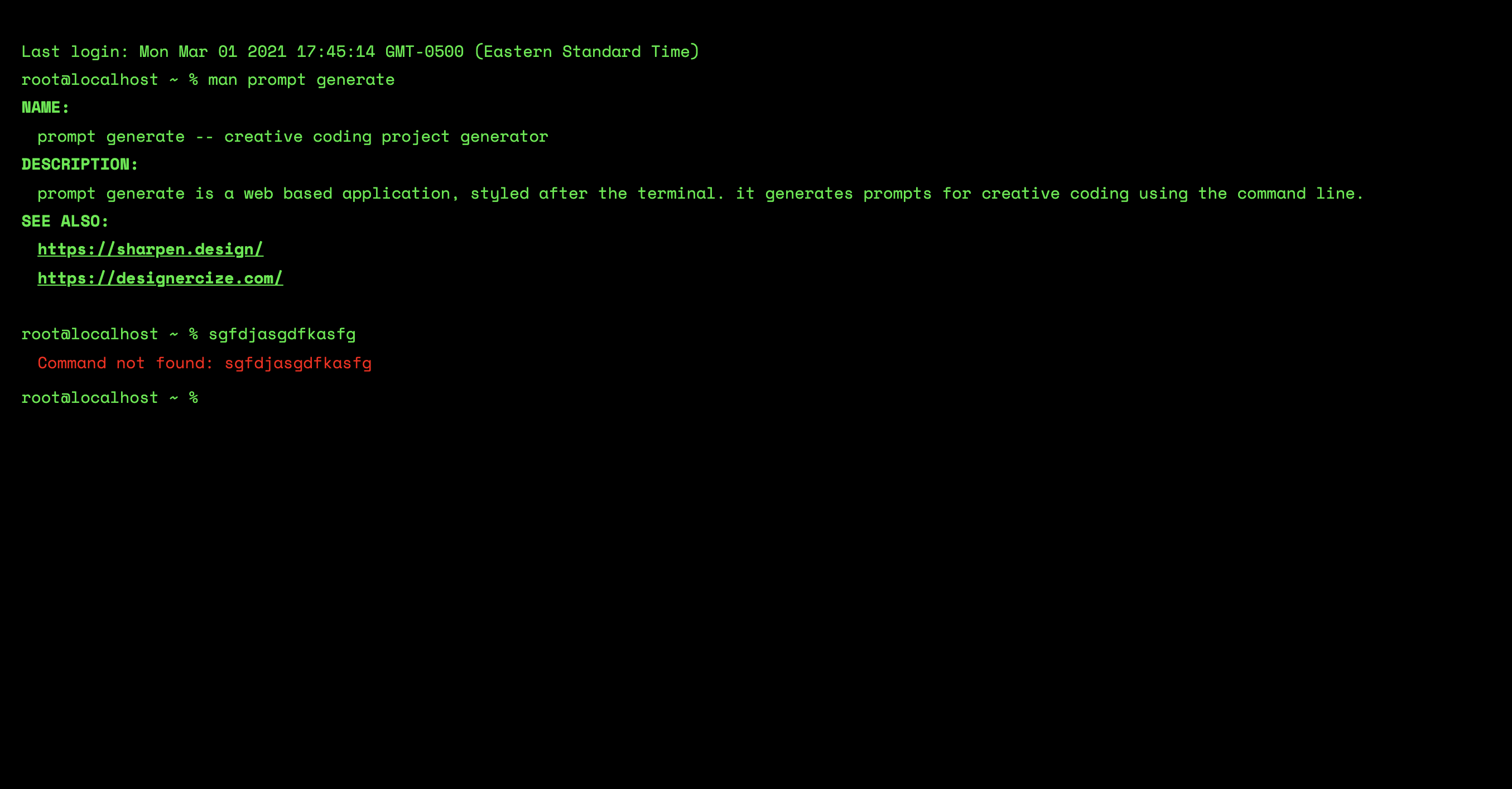 Screenshot of the Prompt generator, with red text at the bottom saying 'command not recognized'